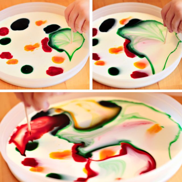 Milk Painting Dish Soap Food Coloring And Toothpick So Simple