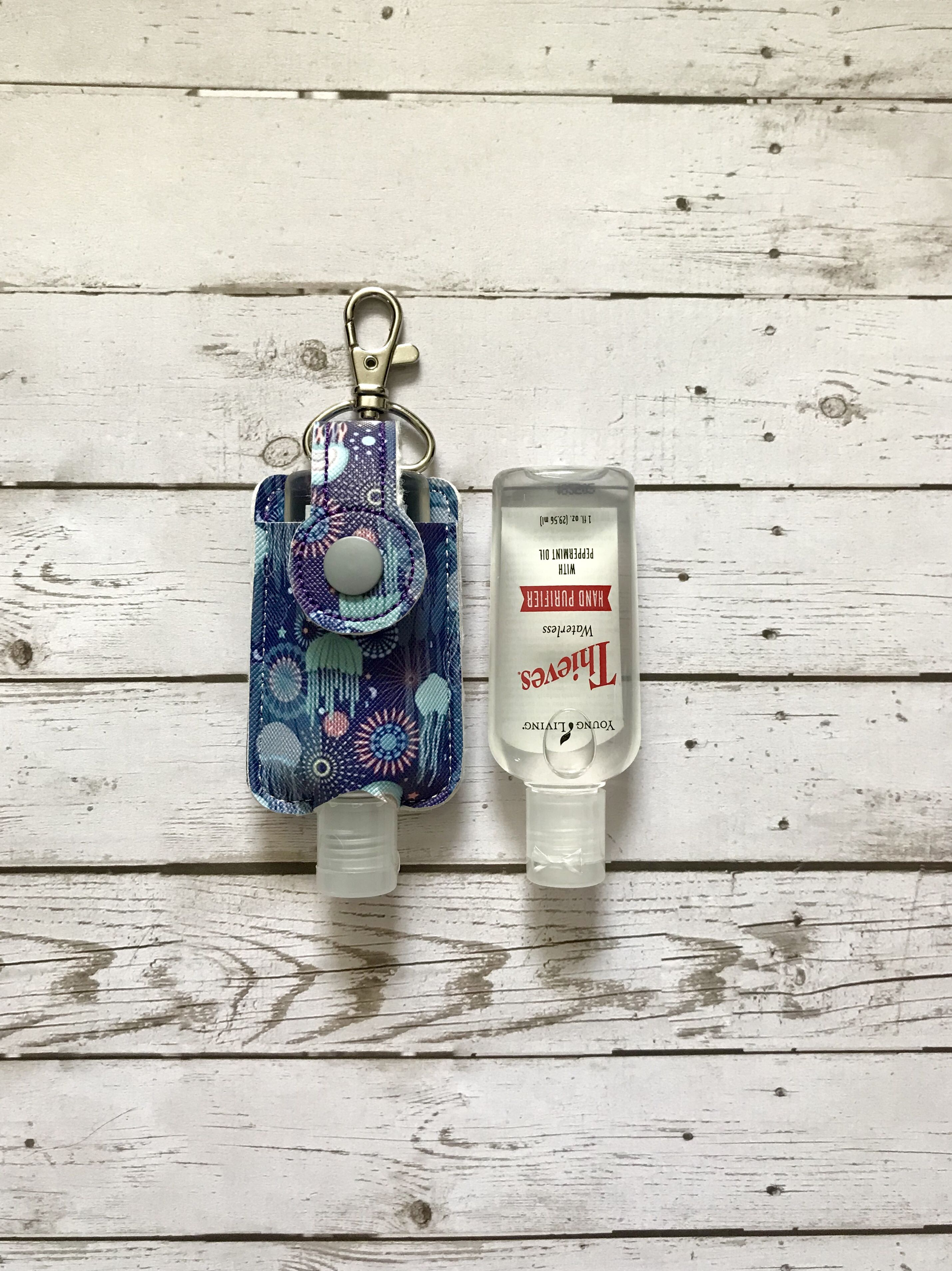 Ocean Theme Hand Sanitizer Case Keychain Antibacterial Holder