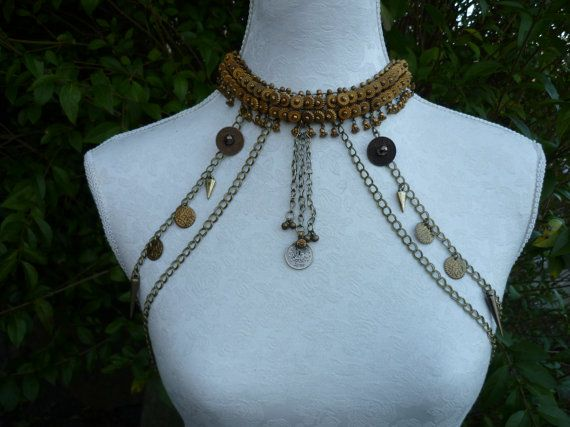 Gorgeous body drape featuring a fabulous beaded antique brass collar and lots of Magpie Moon trinketry!