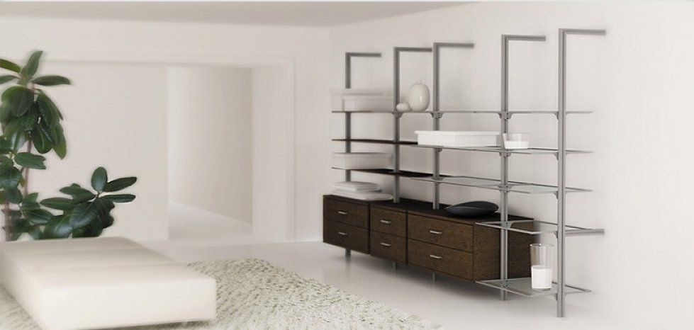 wooden shelving units with aluminium - Google Search