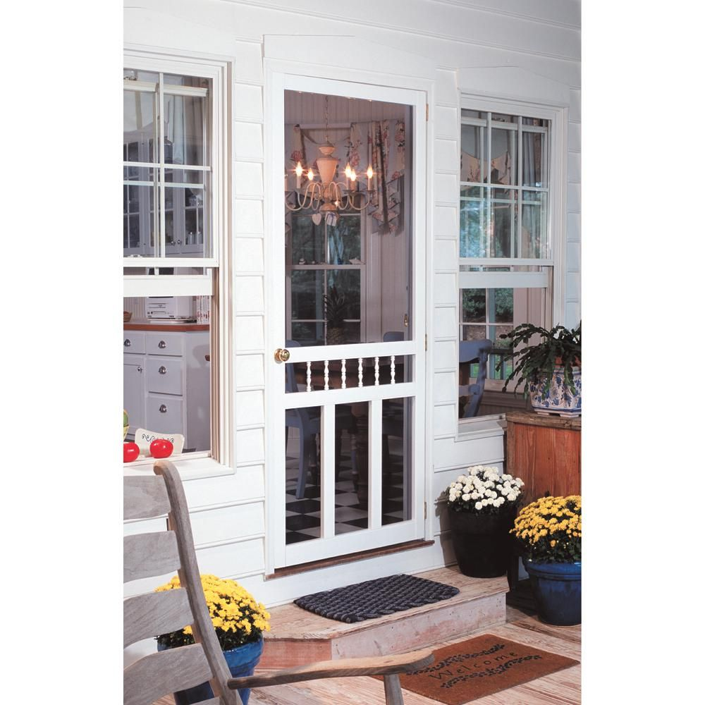Screen Tight 36 In X 80 In Waccamaw Solid Vinyl White Screen Door With Hardware Wac36hd The Home Depot Decorative Screen Doors Screen Door Screen Tight