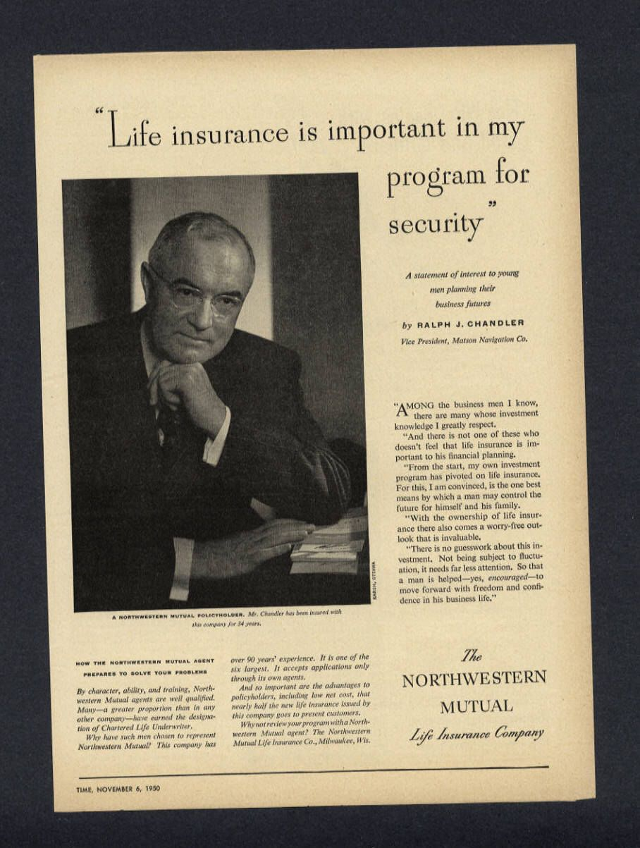 1950 Northwestern Mutual Life Insurance Company Ralph Chandler