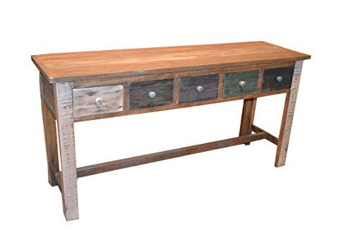 Rustic Solid Wood Multi Drawer Console Table Sofa Table H