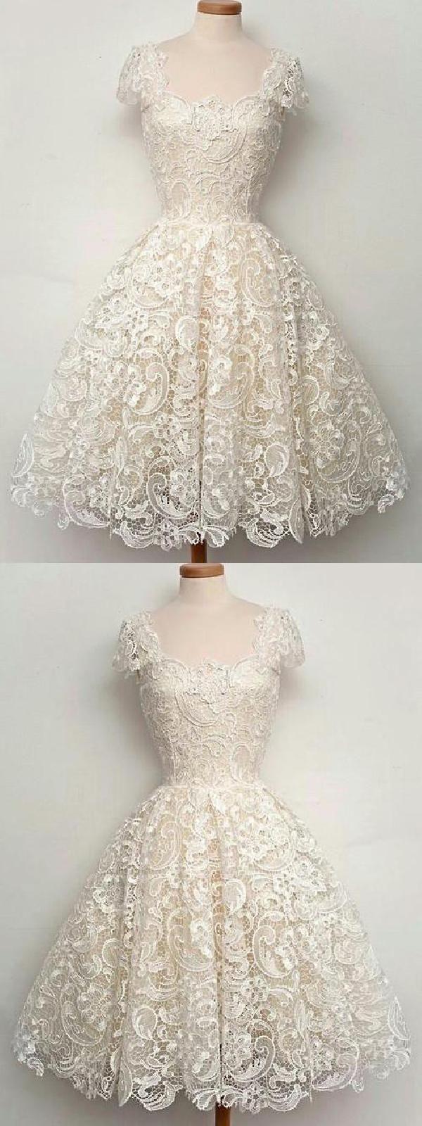 Homecoming dress short homecoming dress lace ivory prom dress