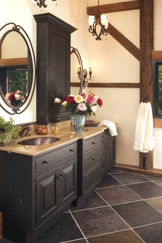 Rustic eclecticism master bath redesign new hope pa for Rustic master bathroom designs