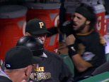 Pittsburgh Pirates Sean Rodriguez takes on Gatorade cooler - http://goo.gl/N3eKMq