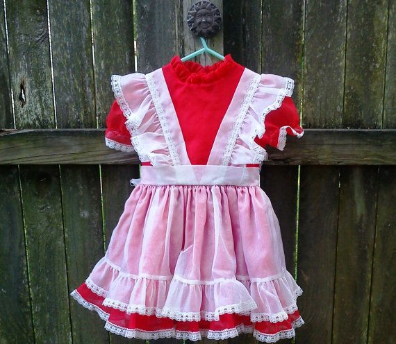 Vintage Handmade Dress for Baby Girls Toddlers Kids 70s 80s Retro Cute Shirt Top Creme Green Polka Dot