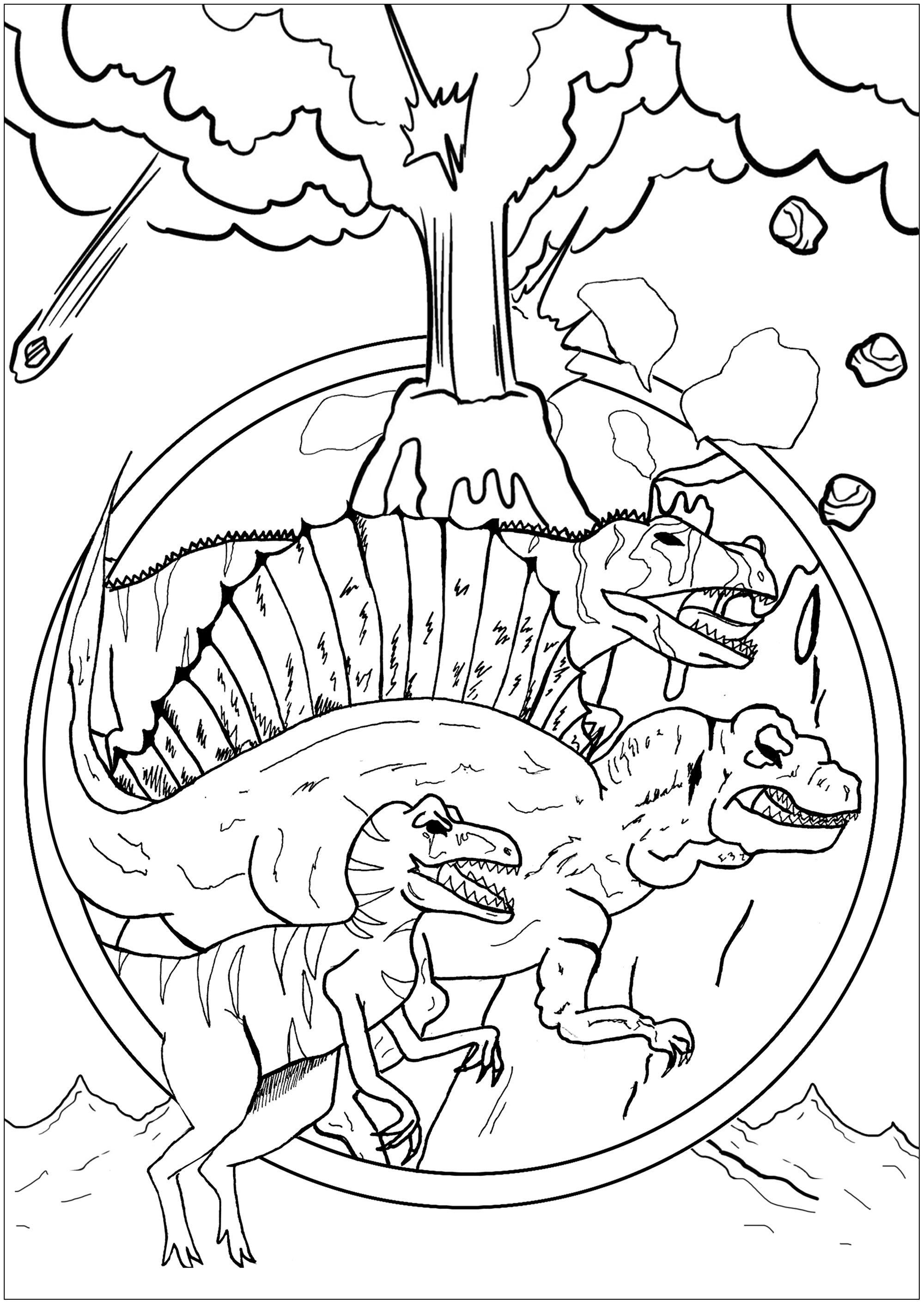Tree Dinosaurs Velociraptor Spinosaurus And Eocarcharia Threatened By An Erupting Volcano Dinosaur Coloring Pages Dinosaur Coloring Coloring Pages
