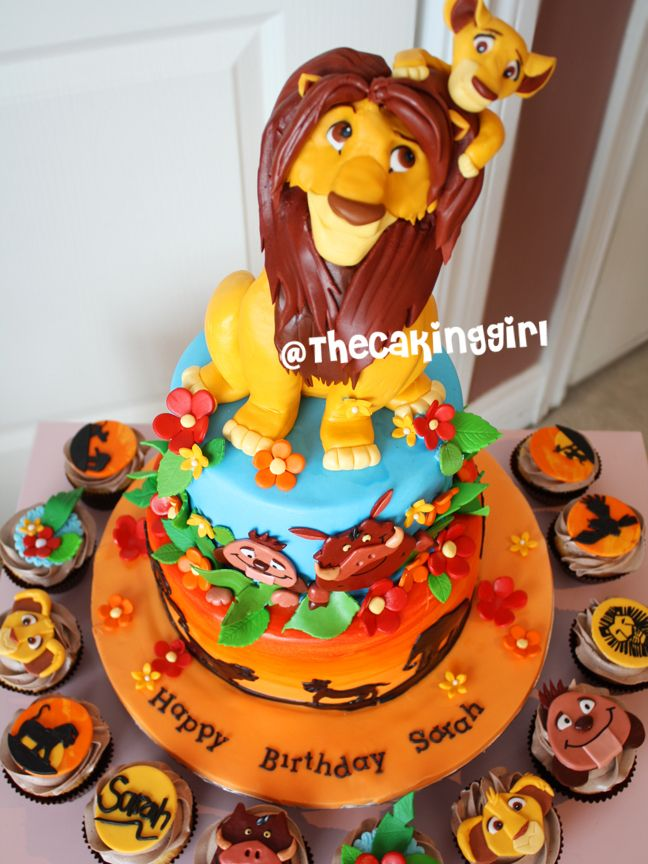 Lion King And Simba Baby Shower Cake And Cupcakes Fondant Gumpaste