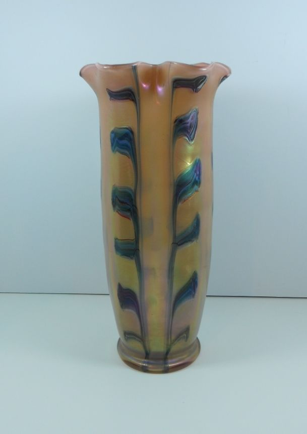 Rindskopf Iridescent Peach Pulled Feather Vase 12 Tall Vases