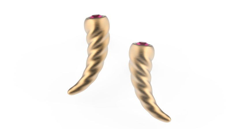 14K Golden Horn Stud, Horn Earrings, Unicorn Horn Earrings, Golden Horn Earrings, Unicorn Studs, Small Horn Studs, Ruby Studs