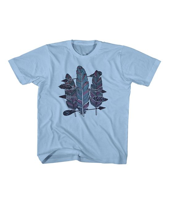 Light Blue Feather Crewneck Tee - Toddler & Kids
