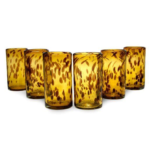 NOVICA Brown Glass Recycled Handblown Water Drinkware From Mexico 'Tall Tortoise Shell'