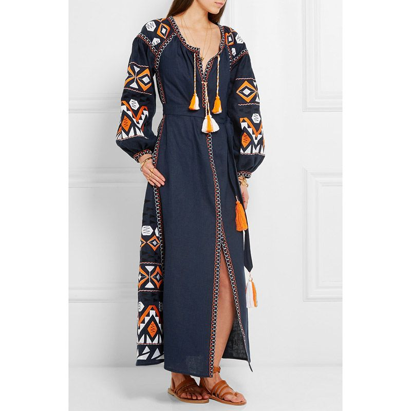 Aliexpress.com : Buy Mori girl autumn spring Summer bohemian embroidery dress long sleeve designer ethnic tassels dresses festival robe gown vestidos on Design item shop.