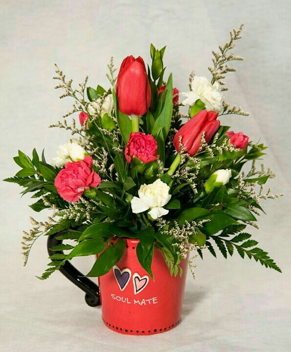Valentine Flower Arrangement With S Day Mug For Wonderful And Beautiful Inspiring Design Ideas
