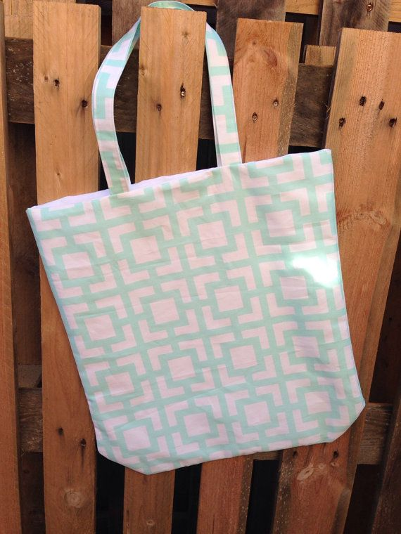Mint and white tote bag by Rainy Lain