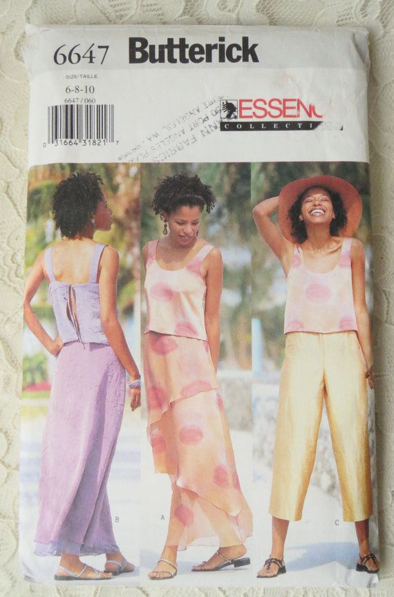 Butterick 6647 Sewing Pattern Pull Over Summer Tops & A Line Skirt ...