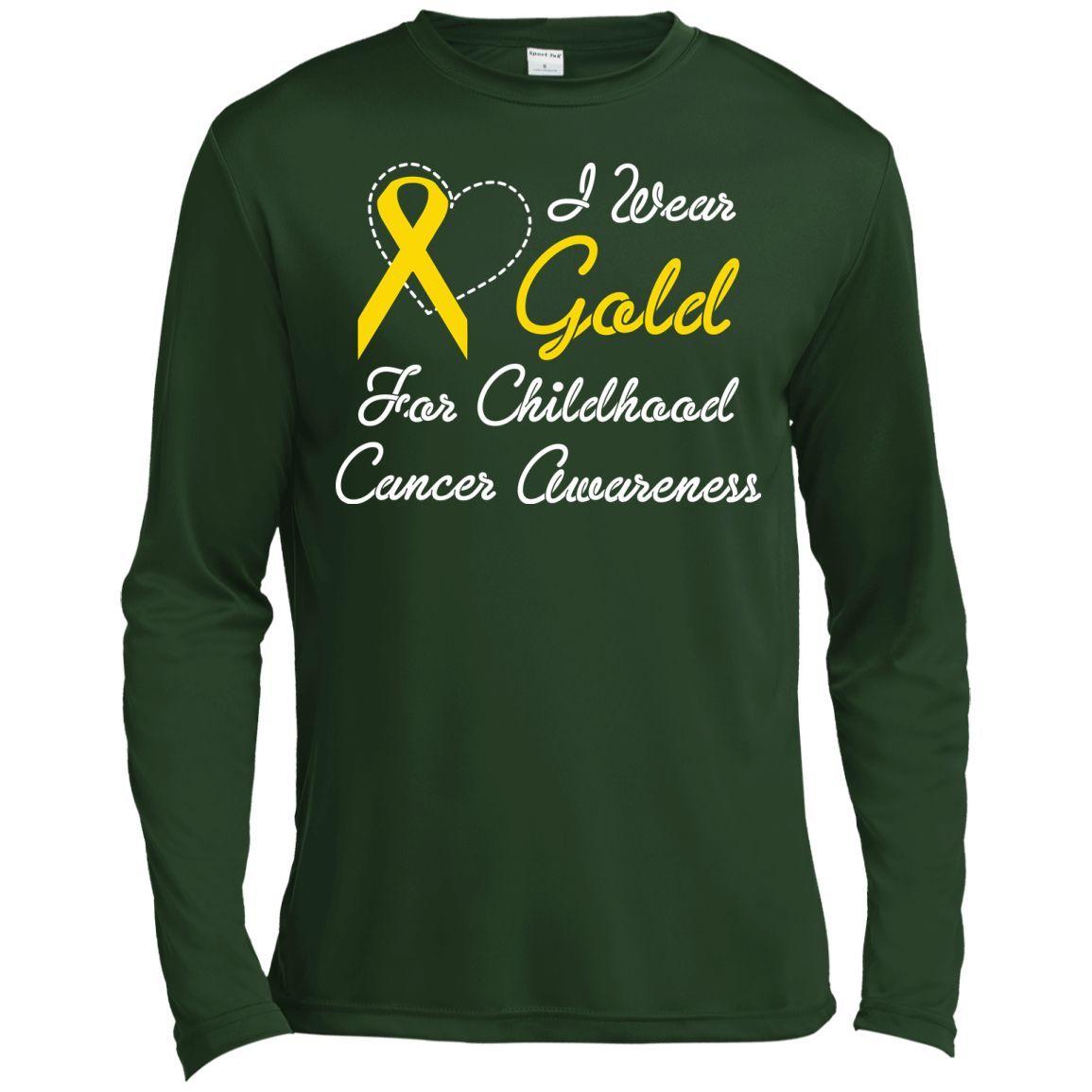 I Wear Gold For Childhood Cancer Awareness Long Sleeve Moisture Absorbing Shirt
