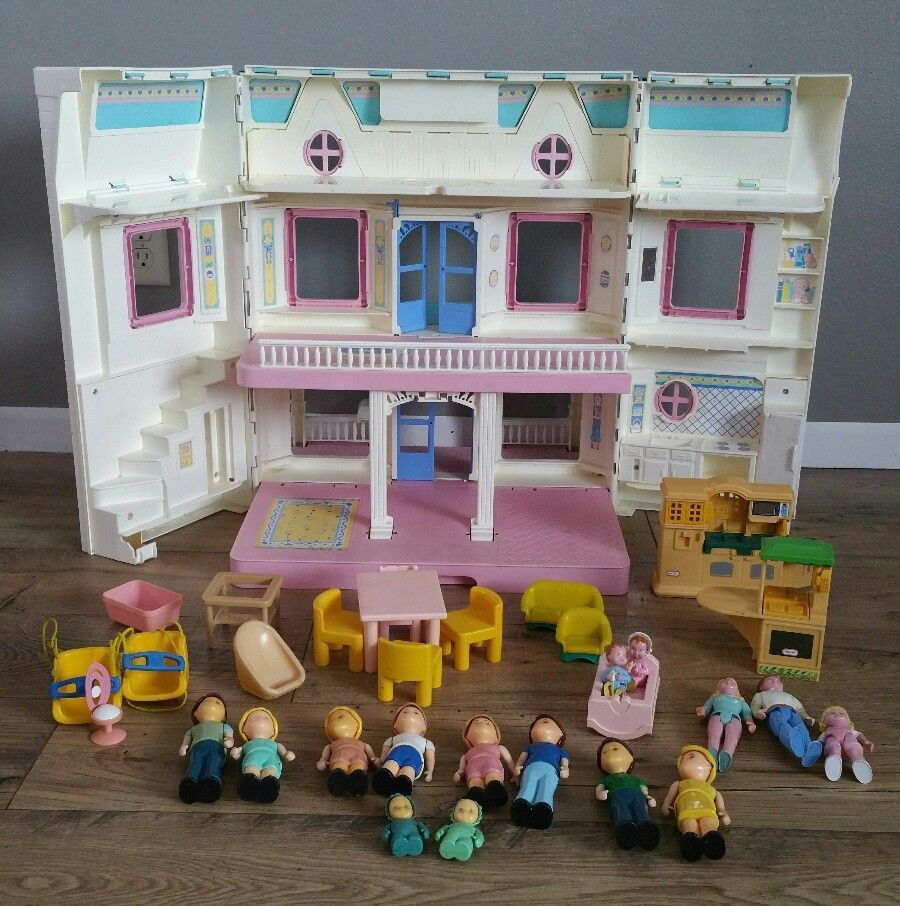 Fisher price doll house furniture - Vintage Fisher Price Loving Family Dream Doll House With Dolls Furniture