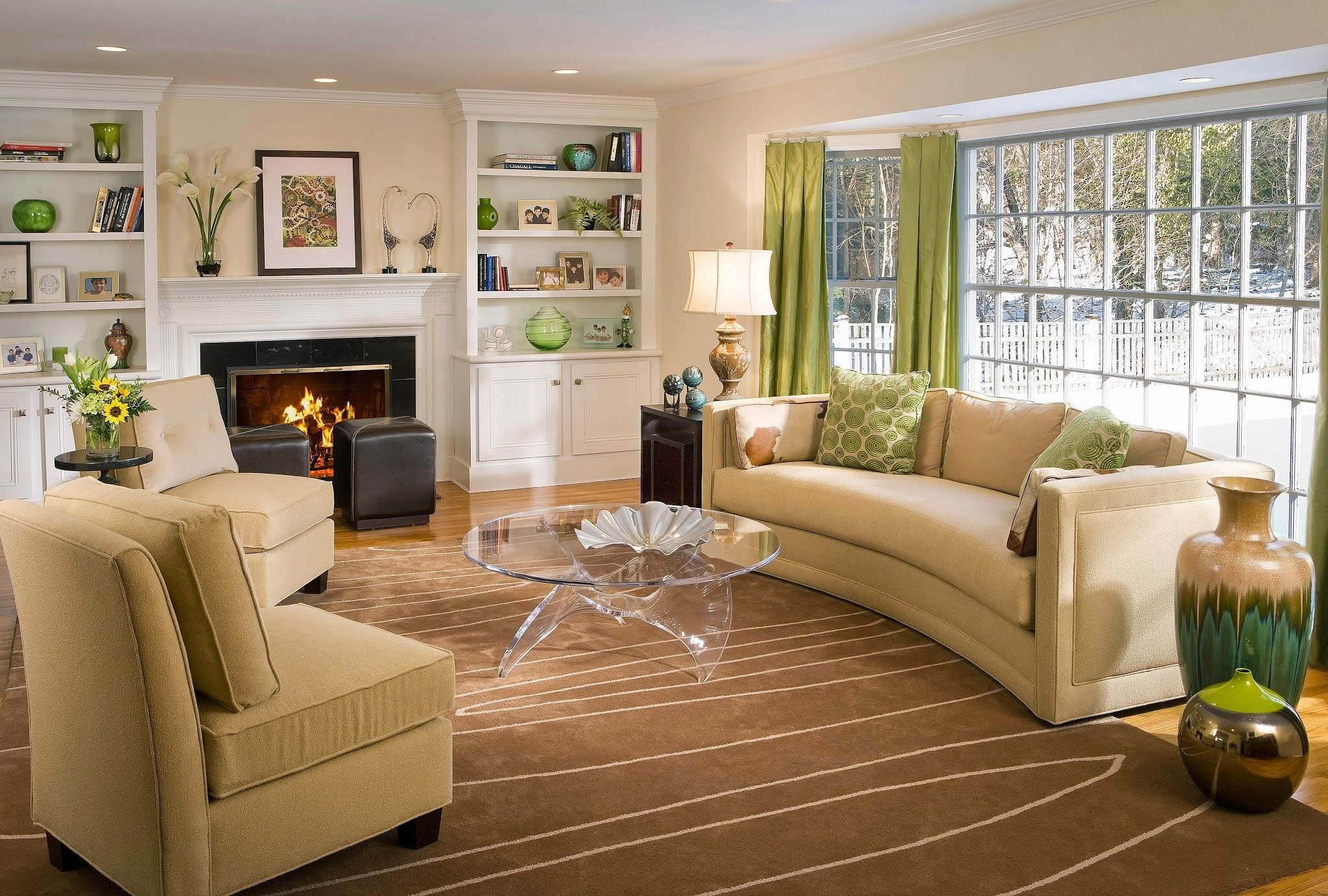 Living Room Color Schemes Green And Brown