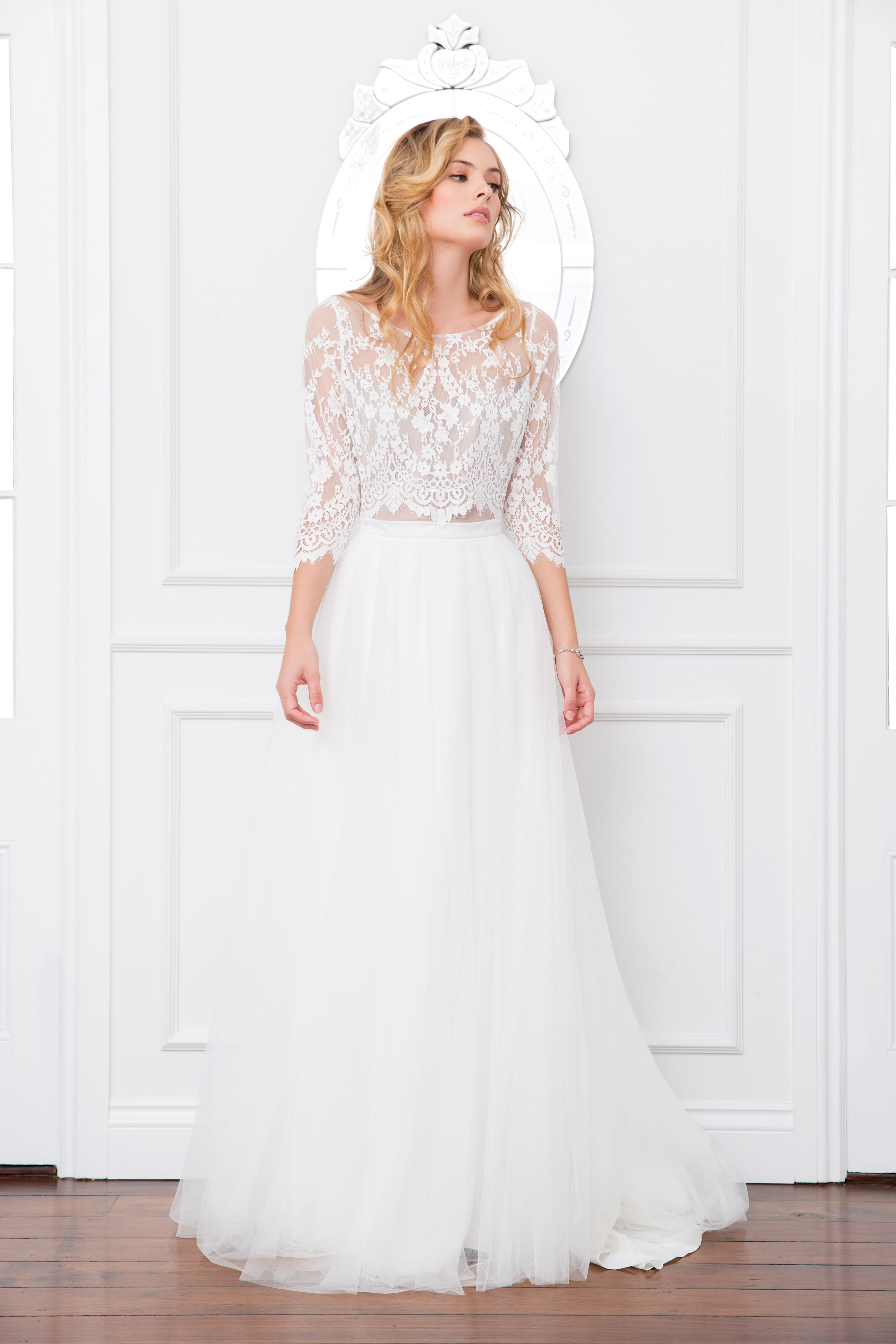 Samara Bodice And Lilah Skirt Lace Top Bridal Separates Long Sleeve Tulle Skirt Wedding Wedding Dress Separates Tulle Wedding Skirt Lace Top Wedding