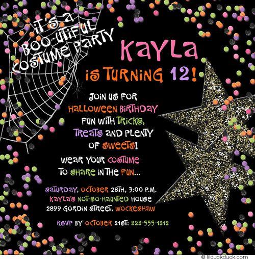 Booutiful Halloween 12th Birthday Invitation 12th birthday