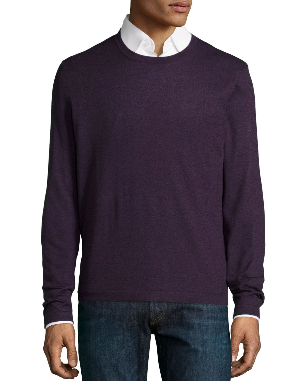 Neiman Marcus Superfine Cashmere Crewneck Sweater, Dark Purple, Men's, Size: S