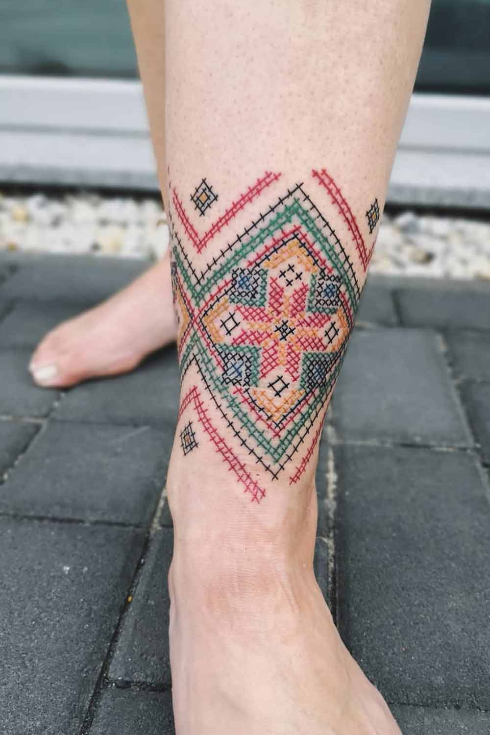 32 Stunning Embroidery Tattoo Ideas That Even Your Grandmother Will Want To Have In 2020 Embroidery Tattoo Ancient Tattoo Tattoo Arm Designs