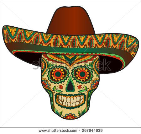 913a0cd3f1dc2 Traditional mexican skull with sombrero. Vector skull in mexican hat.  Mexican ornament