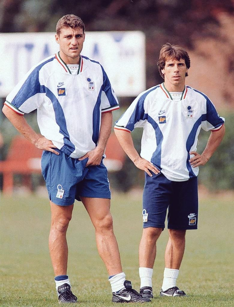 Christian Vieri & Gianfranco Zola during an Italian training session