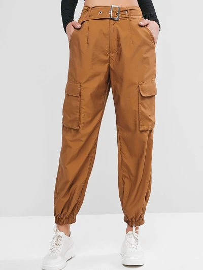 Zaful Pantalones Jogger De Cintura Alta Con Cinturon Madera M En 2020 Pantalon Jogger Pantalones Mujer Pantalones