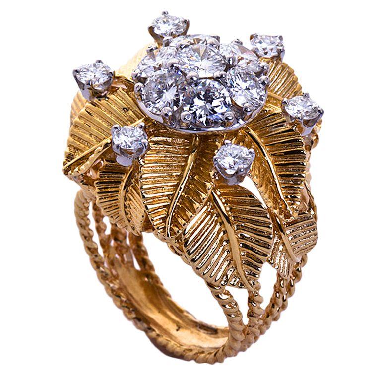 1stdibs | 1960's Diamond Gold Cocktail Ring