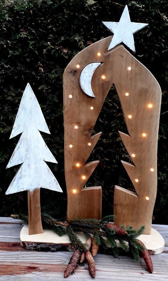 Weihnachten Advent Stele Holzbrett LED Baum Stern Mond Holzdeko Holzschild Geschenk Natur Weihnachtsdeko Geschenktipp rustikal