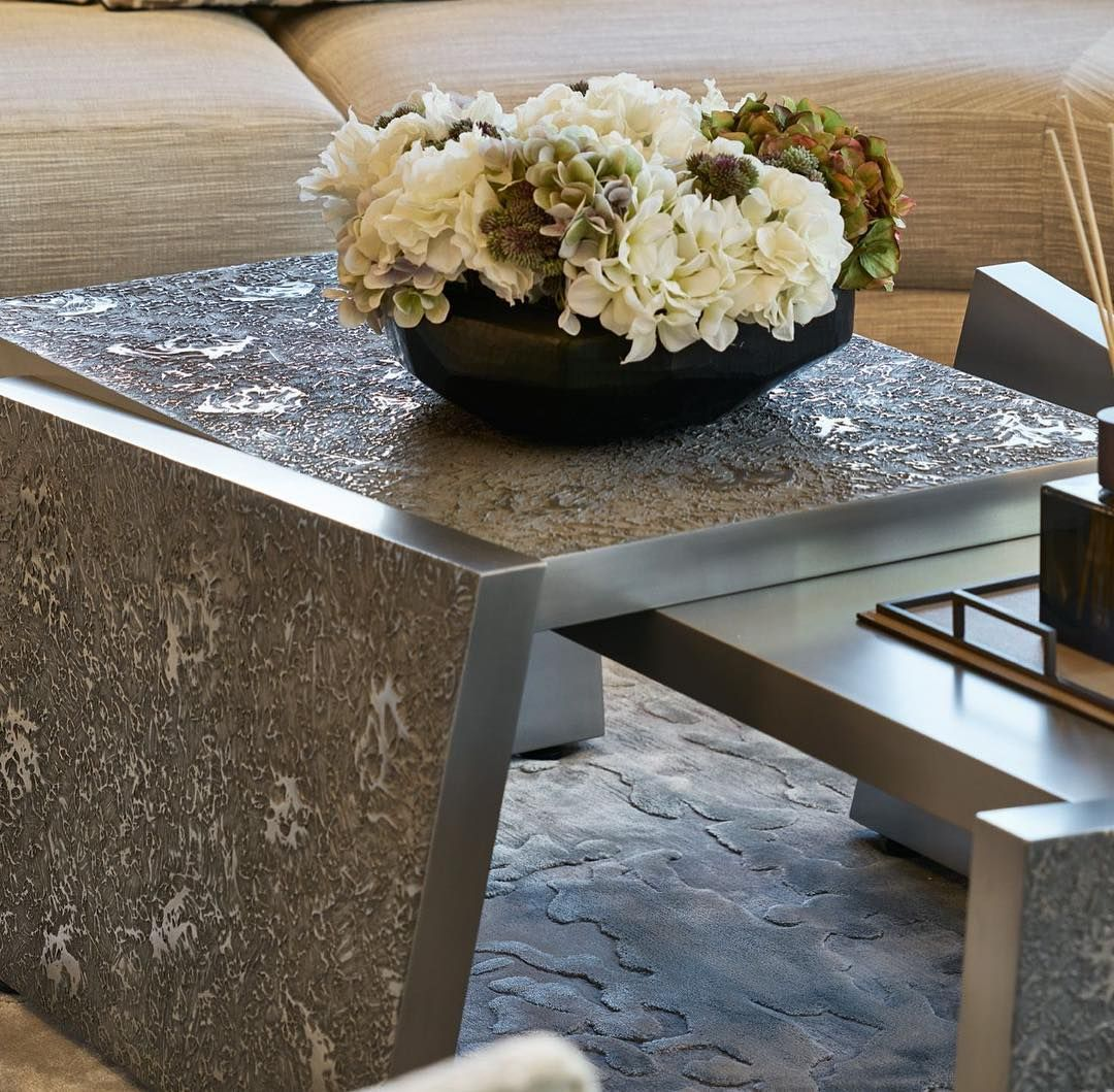 Deconstructed Coffee Tables With A Textured Liquid Metal Finish With A Arrangement Of Soft Cream And Lilac Coffee Table Deconstructed Coffee Table Liquid Metal [ 1059 x 1080 Pixel ]