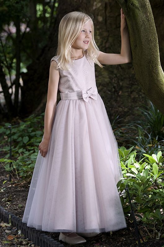 Dusky Pink Tulle Dress With Lace Bodice And Satin Bow By Designer