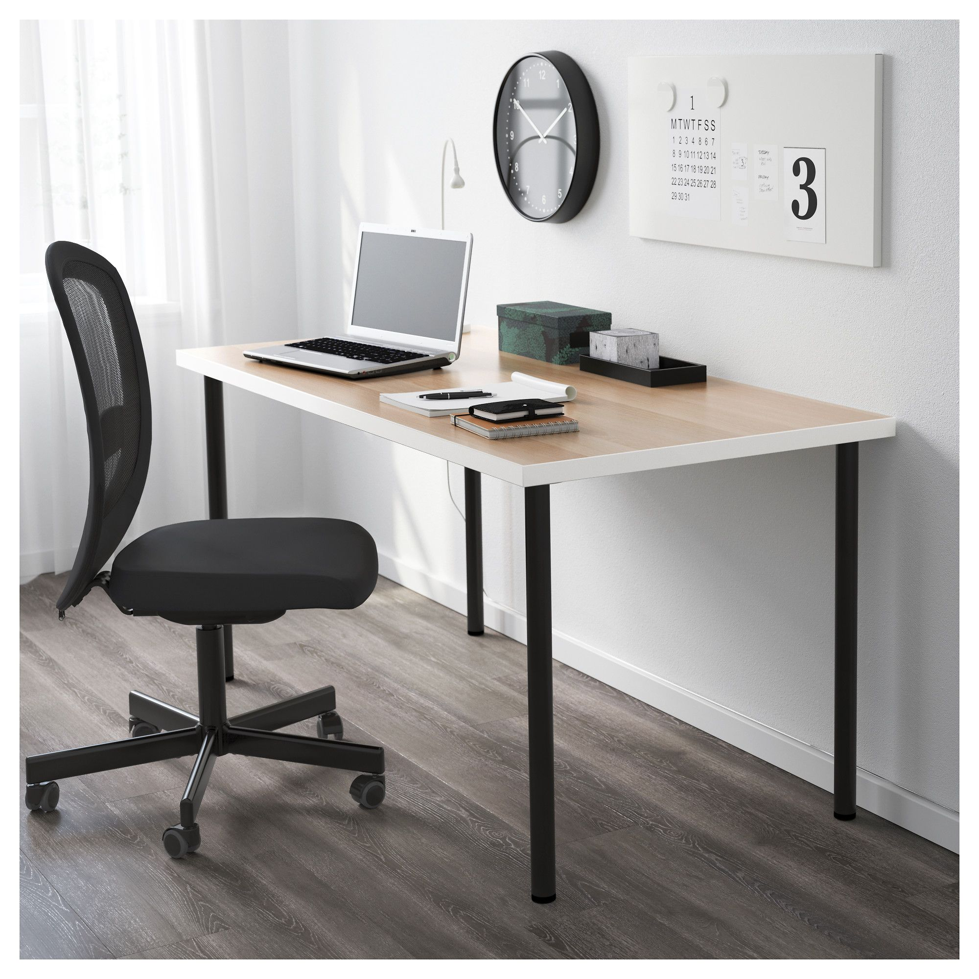 Linnmon Ikea Linnmon Adils Table White Stained Oak Effect Black