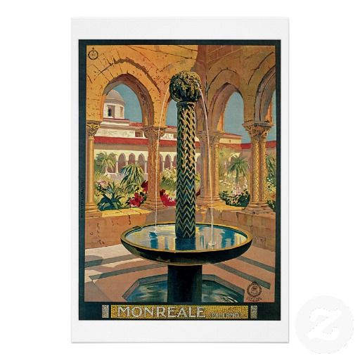 Poster advertising the charms of the town of Monreale in Sicily Italy