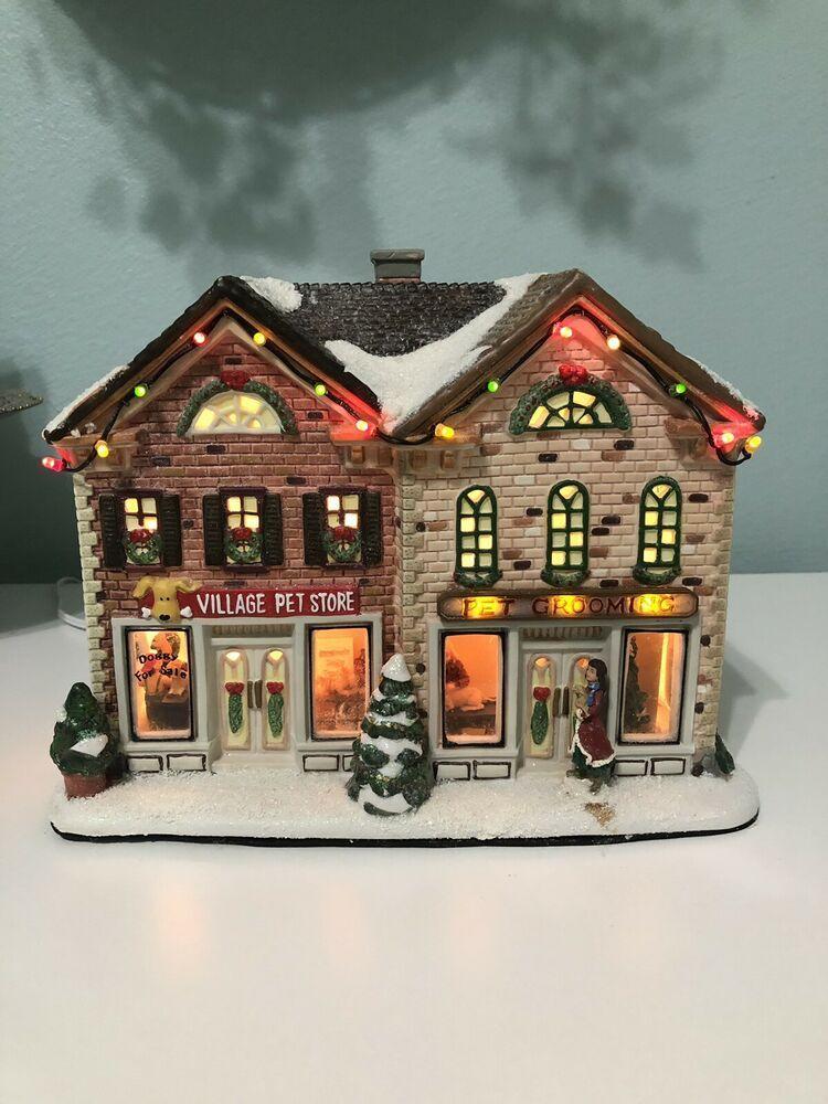 St. Nicholas Square Christmas Village House Lighted Pet