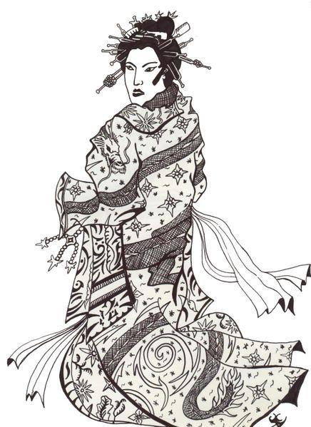 un dessin dans la tradition japonaise mon book photo et dessin art chinois japonais. Black Bedroom Furniture Sets. Home Design Ideas