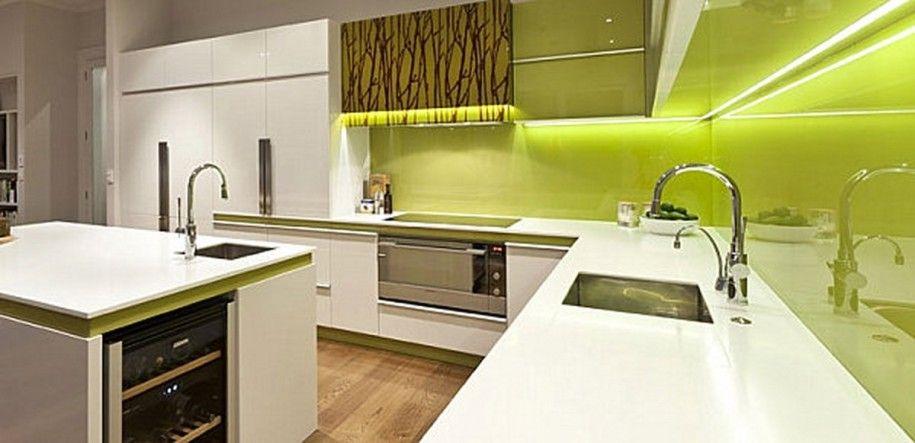 Kitchen: White Kitchen Cabinet Green Backsplash In Ultra Modern ...