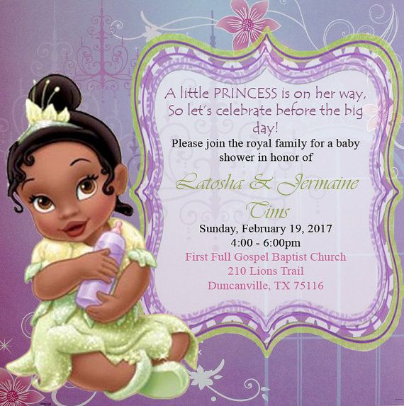 Princess and the Frog baby shower by TsInspiredCreations on Etsy – Princess Tiana Party Invitations