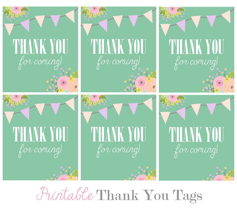 Favor Tags Digital Floral Teal Bunting Thank By