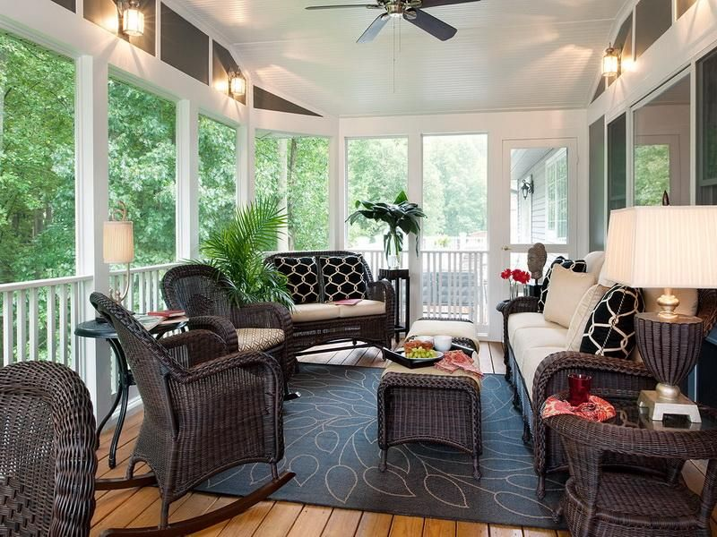 Popular Of Covered Patio Decorating Ideas Ways To Decorate A Back Patio Back Porch Decora Screened In Porch Furniture Porch Furniture Screened Porch Decorating