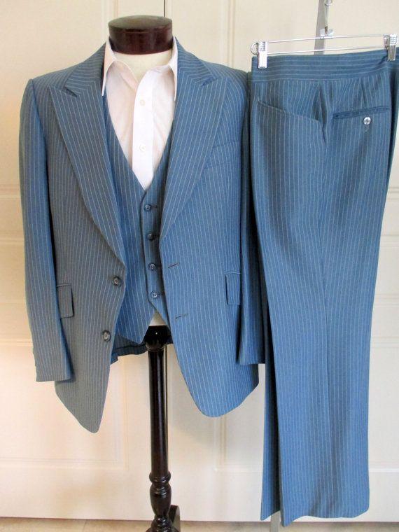 80s Vintage Union Made Haspel Tailored Blue White Seersucker 2 Piece Suit Blazer and Pant Set Large 42 Chest 34 Waist