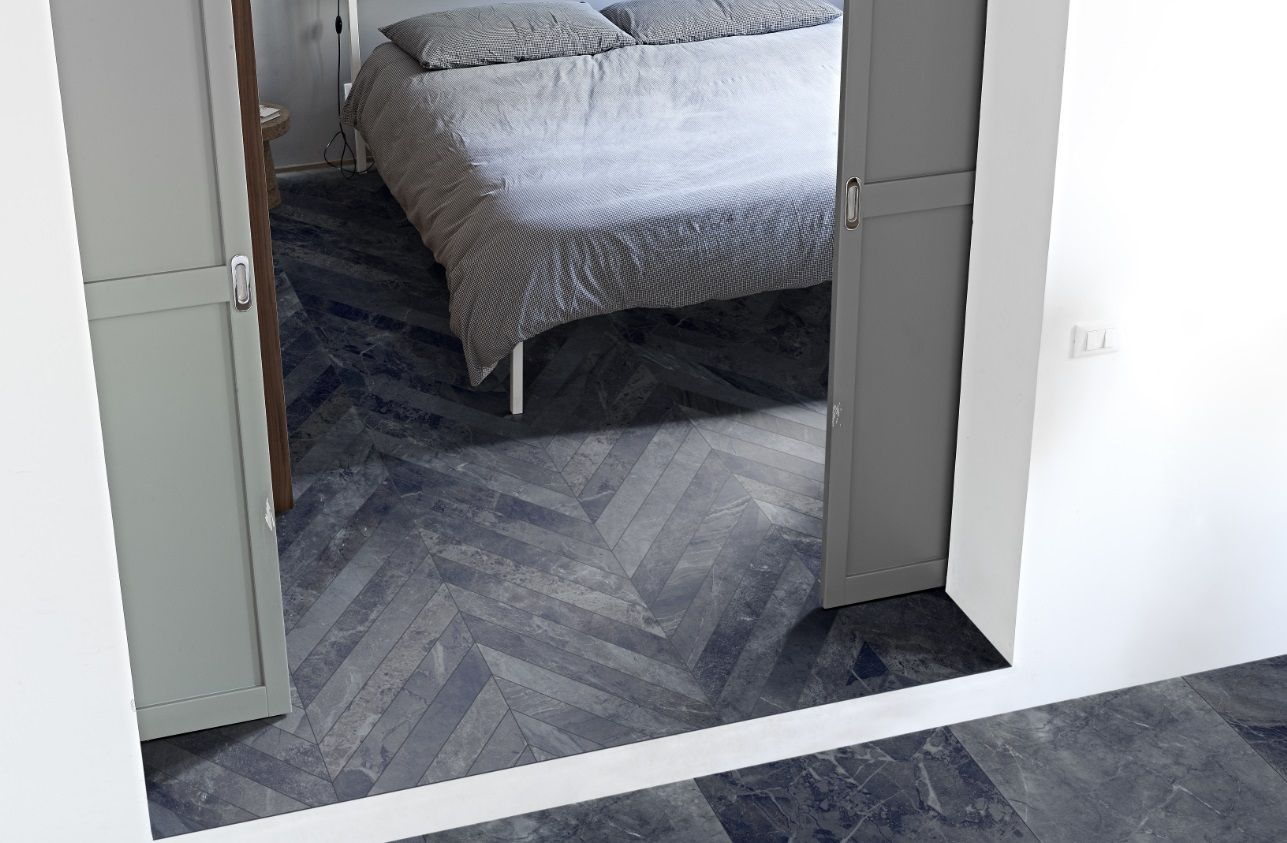 The Byron Range In This Setting The Alpi Chevron Has Been Used On The Bedroom Floor The 60x60 Alpiti Modern Tile Designs Bedroom Flooring Chevron Floor