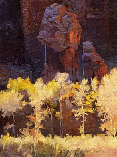 Dancing Trees (Zion Park) by Dilleen Marsh Oil ~ 16 inches x 12 inches