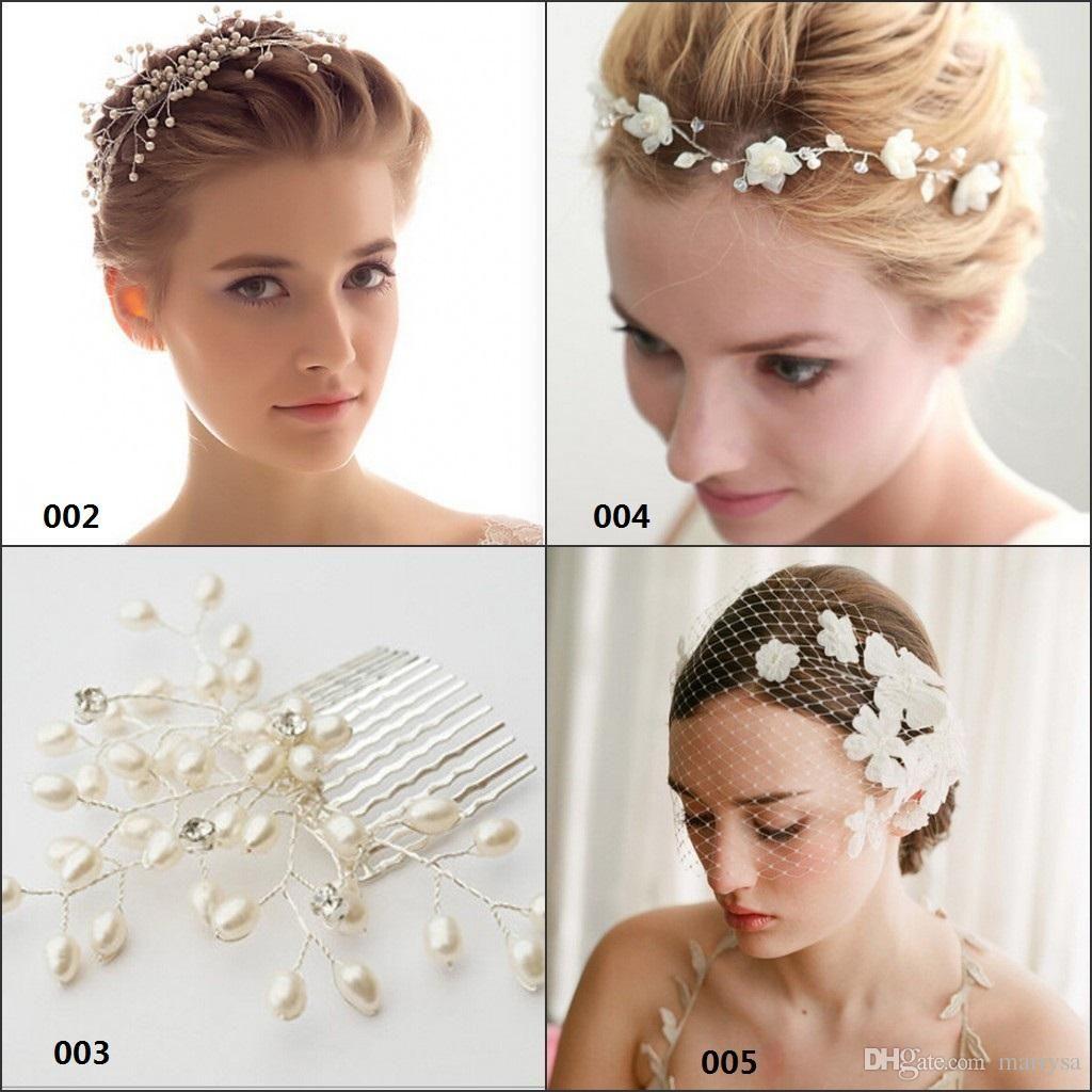 2015 Fashion Bridal Hair Accessories Flowers White Pearls Crystal ...