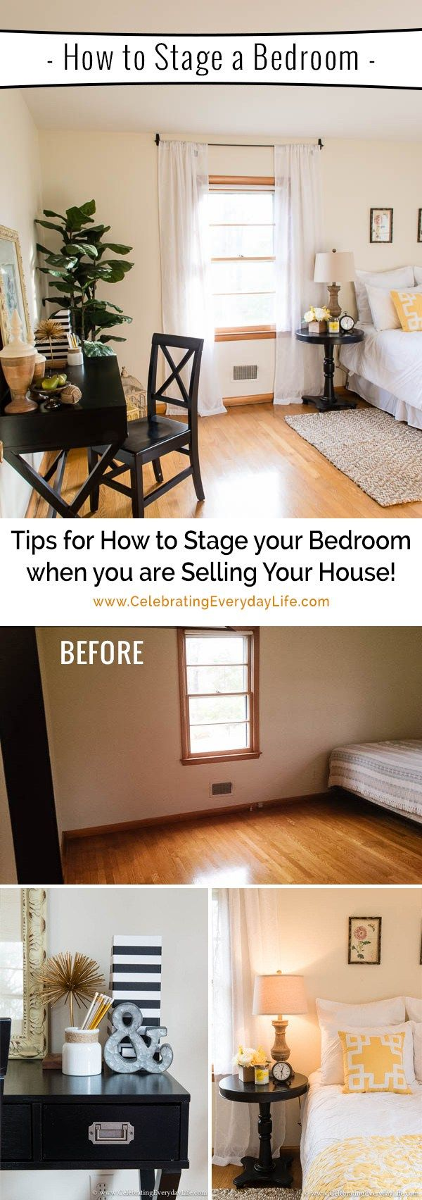 More Tips for How to Stage a Bedroom to Sell NOW is part of home Staging Ideas - How to Stage a Bedroom to Sell! Read on for my proven tips to help you stage your home and make more money! This home sold in 1 day!