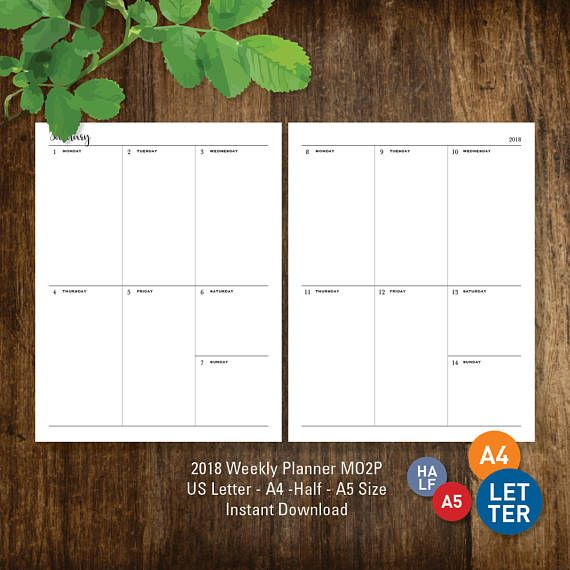 2018 Weekly Planner, PRINTABLE Letter A4 Half-Letter A5 Week on one