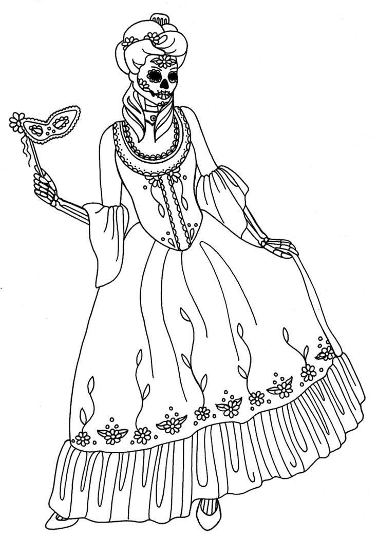 dias de los muertos skeleton coloring page